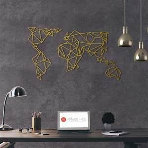 Carte Du Monde Metallique : d coration murale m tal gold carte du monde artwall and co ~ Teatrodelosmanantiales.com Idées de Décoration
