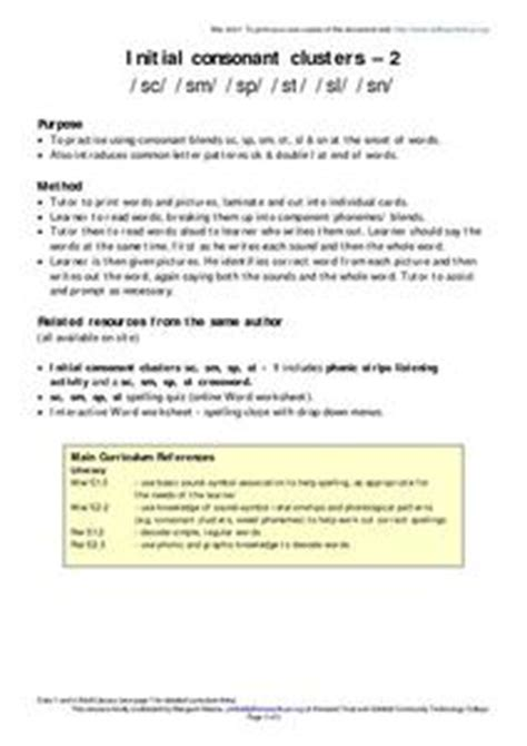 initial consonant clusters worksheet for 2nd 5th grade