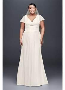 flutter sleeve chiffon plus size wedding dress david39s With plus size chiffon wedding dresses