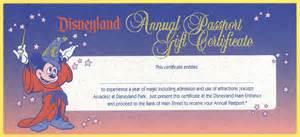 vintage disneyland tickets disneyland annual passport gift certificate 1994