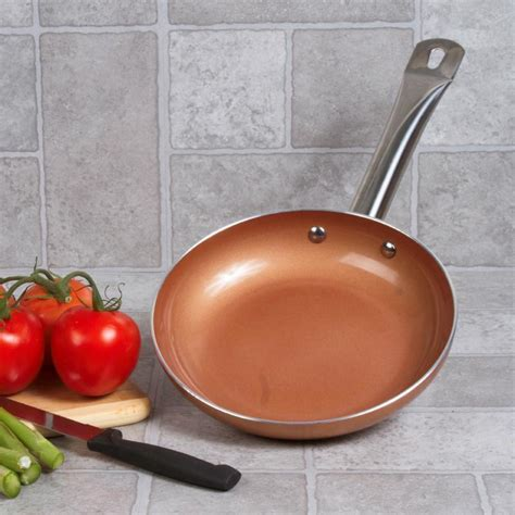 copper ceramic   stick fry pan  induction bottom domestify