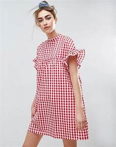 asos asos red gingham smock dress With robe carreaux vichy