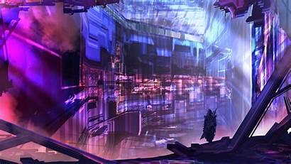 Cyberpunk Purple Tacosauceninja Parede Papel Graphics Flare