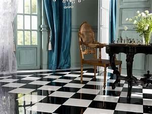 leroy merlin carrelage damier en marbre brillant en noir With carrelage damier noir et blanc salle de bain