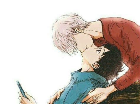 viktor yuuri viktuuri yaoi kissing playing