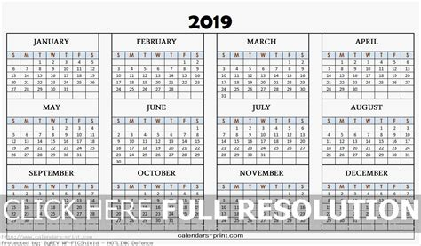 2019 Calendar Printable Template With Notes