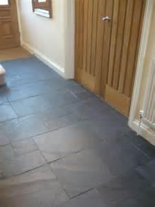 rectangular black slate slabs tiled on hallway floor home decor shower floor
