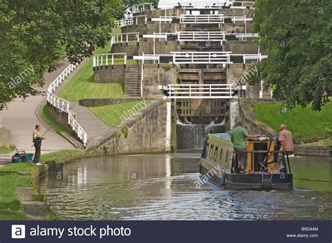 Boat Ladder Lock by Narrow Boat Entering The Bottom Lock Of The Five Lock