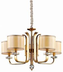 Light modern gold brown pendant with fabric drum