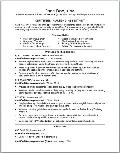 Certified Assistant Resume Skills by Certified Nursing Assistant Resume Free Resume Templates