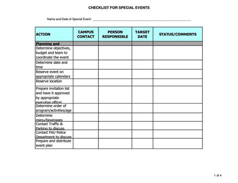 event planning checklist template excel