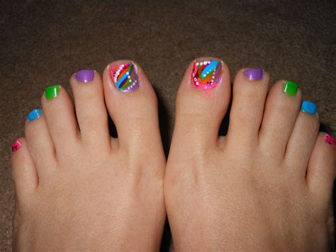 multicolor abstract toe nails  spring  summer youtube