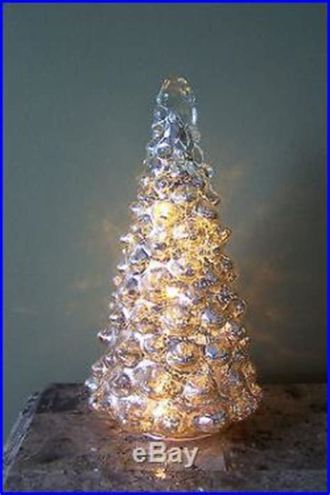 silver mercury glass led light  christmas tree holiday