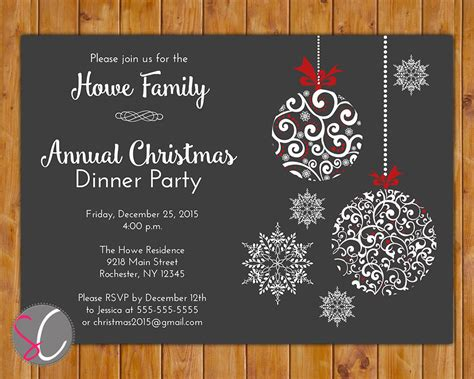 annual christmas dinner party invite celebration holiday