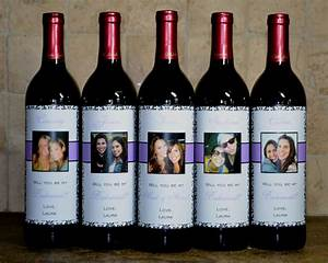 custom bridesmaid wedding wine label set of 5 damask will With custom made wine labels