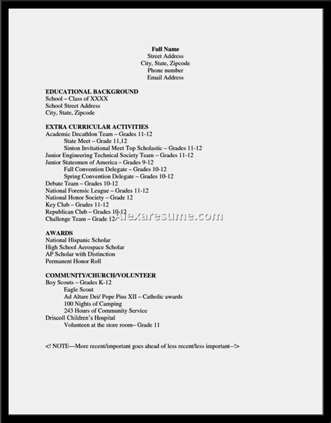 Examples Of Resumes For High School Kids With No