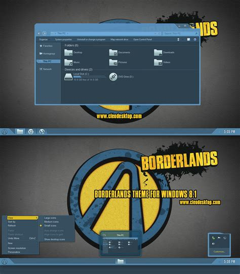 borderlands theme for windows 8 1 windows10 themes i cleodesktop