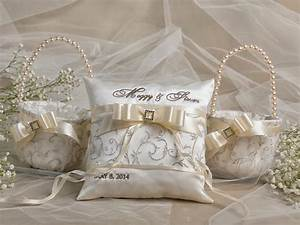 flower girl basket ring bearer pillow set 2 bowl and With wedding ring pillow sets
