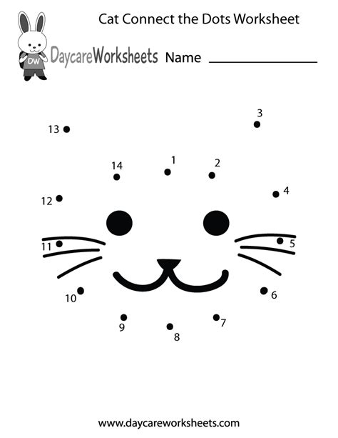 preschool cat connect  dots worksheet