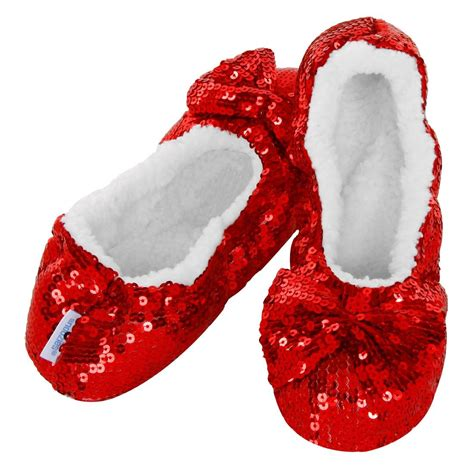 girls bling sequin snoozies slippers red silver black blue