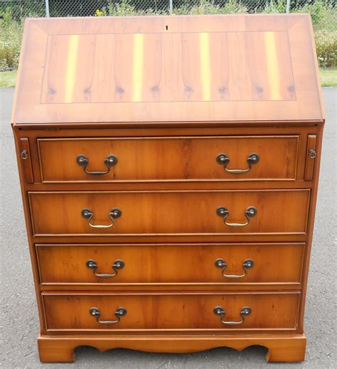 bureau style vintage sold antique style yew wood writing bureau
