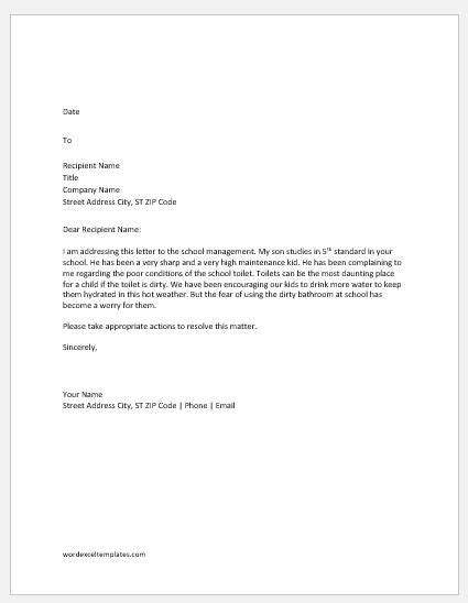 Complaint Letters for School Toilet | Word & Excel Templates
