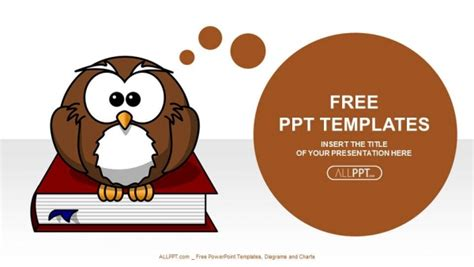 cute owl  books education powerpoint templates