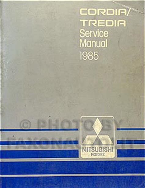 auto repair manual free download 1986 mitsubishi cordia engine control 1985 mitsubishi cordia and tredia repair shop manual original