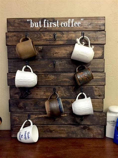 Measure 5 1/2 inches from the base and mark it with a pencil. 12 cup Coffee Mug Rack Pallet Rack Customize by BelleVieArtDecor