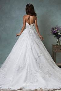 unique strapless sweetheart lace tulle backless ball gown With unique lace wedding dresses
