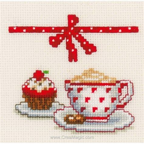 broderie cuisine kit tableau vervaco point de croix café et gâteaux lot de 3