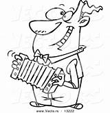 Cartoon Accordion Playing Coloring Outline Happy Toonaday Leishman Ron Vecto Rs sketch template