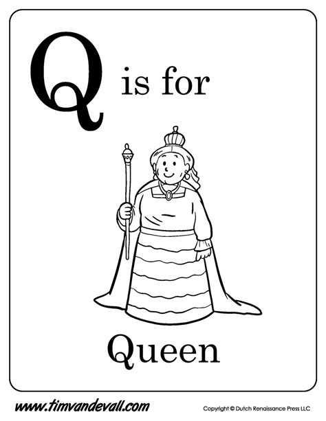 Q is for Queen Printable   Tim's Printables