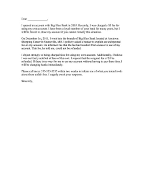 bank fee complaint letter