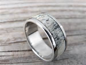antler engagement ring titanium ring with deer antler wedding ring mens by ringwithheart