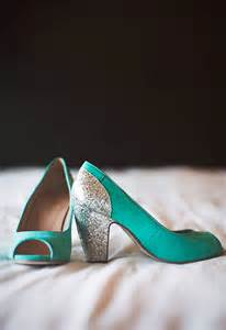 Teal and Silver Wedding Shoes