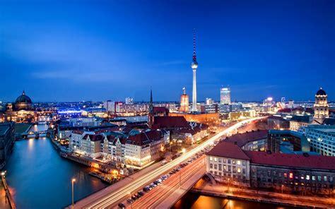 germany berlin alexanderplatz city view night night residential building tower road car river