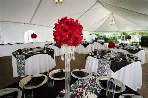 black white red damask wedding party ideas red wedding