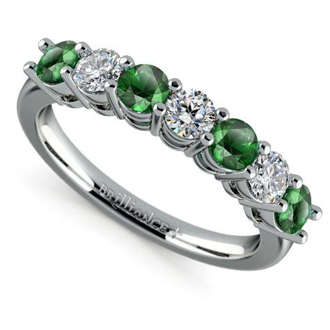 seven diamond emerald wedding ring in platinum