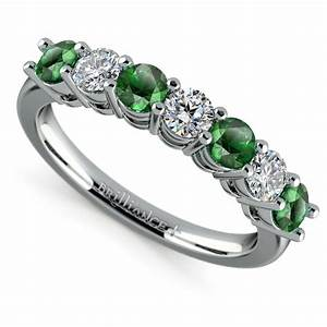seven diamond emerald wedding ring in platinum With emerald wedding band rings