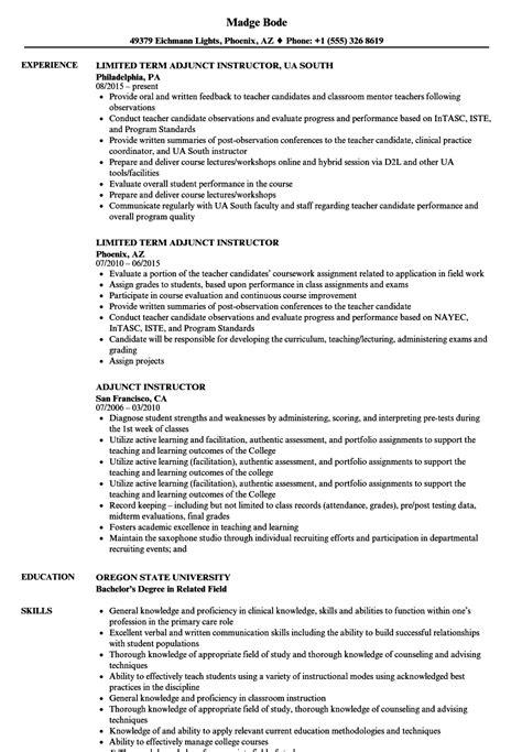 adjunct instructor resume samples velvet jobs