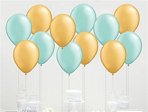 count  mixed mint green  gold latex balloon