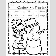 Color By Code Kindergarten  Winter Coloring Pages  Kindermyway  Sight Words, Color Word