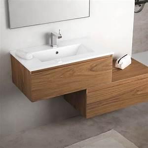 meuble salle de bain 81 cm bois noyer vasque ceramique With meuble salle de bain 75 cm bois