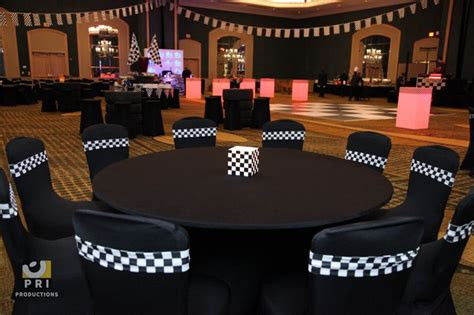racing themed decor black spandex chair covers