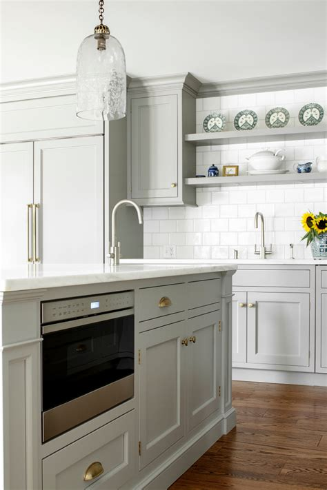 microwave in kitchen island custom kitchen with gray cabinets home bunch interior 7491