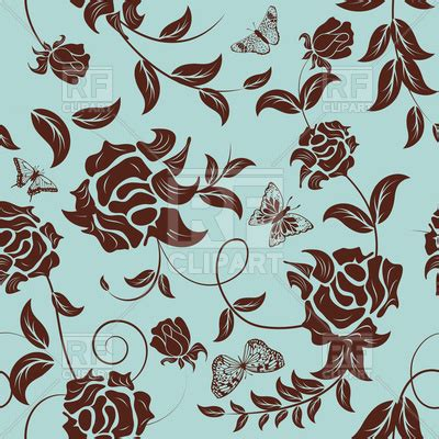 seamless brown  blue floral wallpaper vector