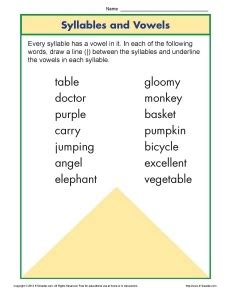syllable  vowel worksheet  images syllable