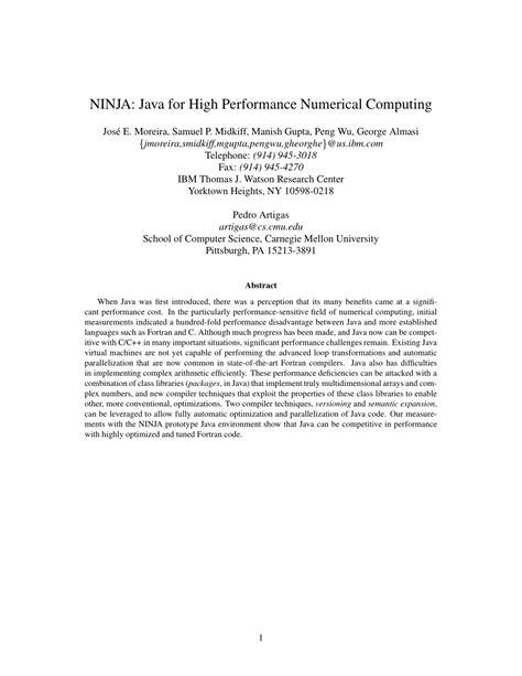 numerical computing java ninja performance