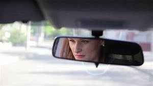 Young Sexy Woman Driving A Car. Rear View Mirror Stock ...